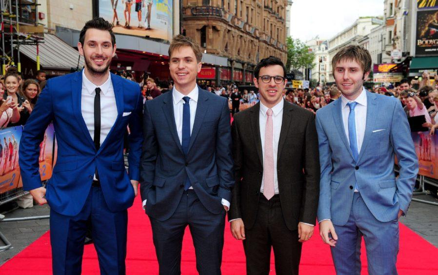 Blake Harrison, Joe Thomas, Simon Bird and James Buckley at the premiere of the second Inbetweeners movie