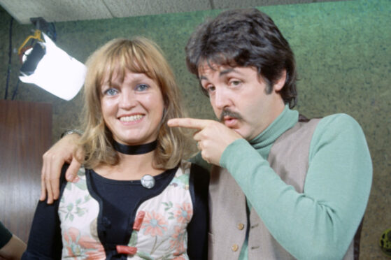 Radio 1 DJ Annie Nightingale and former Beatle Paul McCartney, with whom she has remained friends, in 1975