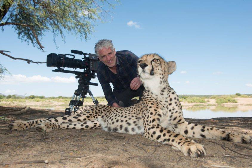 Gordon with orphaned cheetahs in Namibia