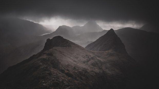 Sgurr Beag and Sgurr na h-Uamha from Sgurr nan Gillean, Cuillin Ridge, Isle of Skye.