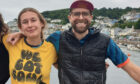 Georgie Cottle (l) and David Charles (r) in East Looe, after completing letter R.