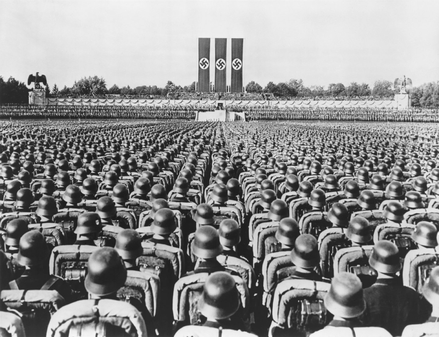 Nazi soldiers at the Nuremburg rally in 1936