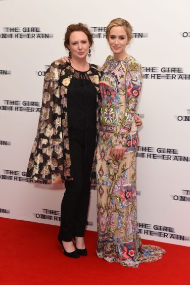 Paula Hawkins and Emily Blunt at the London premiere of The Girl On The Train in 2016