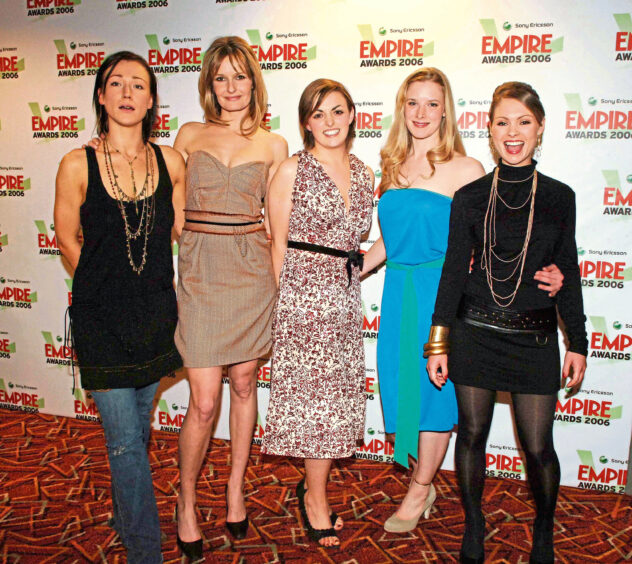 Shauna, second right, with The Descent co-stars in 2006