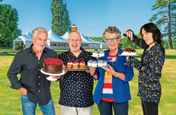 Paul Hollywood, Noel Fielding, Prue Leith, Matt Lucas from The Great British Bake Off 2021.