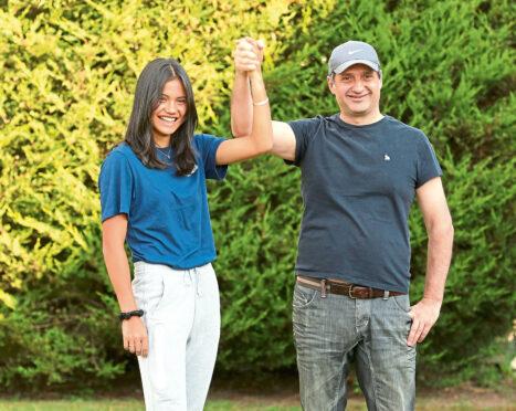 Emma Raducanu with her dad.