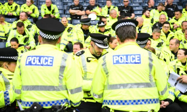 A police briefing at Hampden Park in  2017