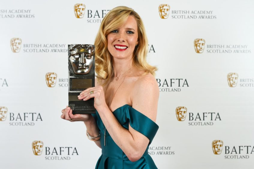 Shauna with her Scottish Bafta for sci-fi movie White Chamber in 2018