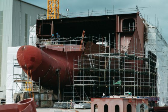 Hull 802, the Calmac ferry under construction at Ferguson's in Port Glasgow