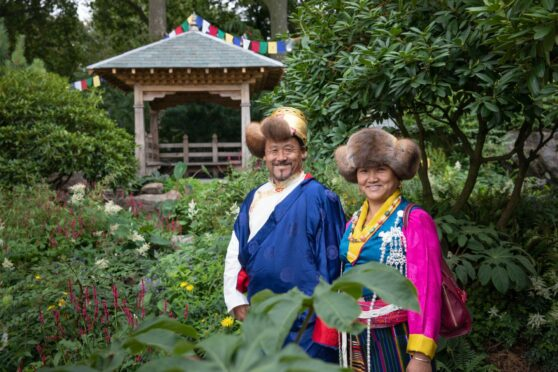 Dawa Sherpa and wife Angdiki in garden he helped create at Chelsea Flower Show
