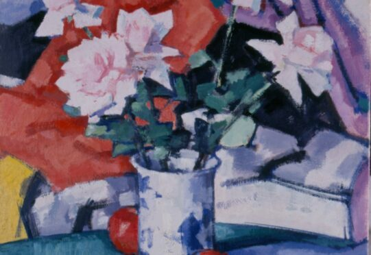 Roses, an oil on canvas painted circa 1924, by Samuel John Peploe, shows his love of both vibrant colour and still lifes