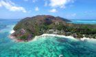 Aerial view of Praslin, Seychelles.