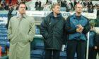 Dick Advocaat at Prenton Park with Bert van Lingen and Tommy Moller-Neilsen ahead of the UEFA Cup tie with Shelbourne in 1998