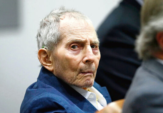 Real estate heir Robert Durst sits during his murder trial at the Airport Branch Courthouse in Los Angeles.