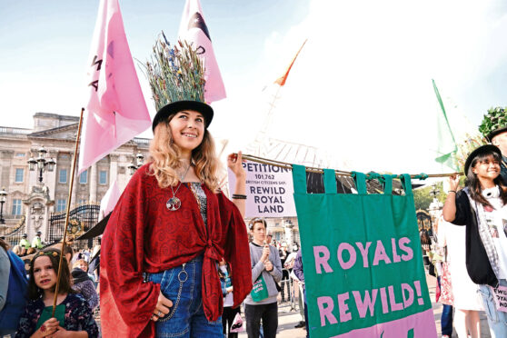 Children deliver a Wild Card campaign petition signed by 100,000, to Buckingham Palace, London, calling on the royal family to re-wild their estates.