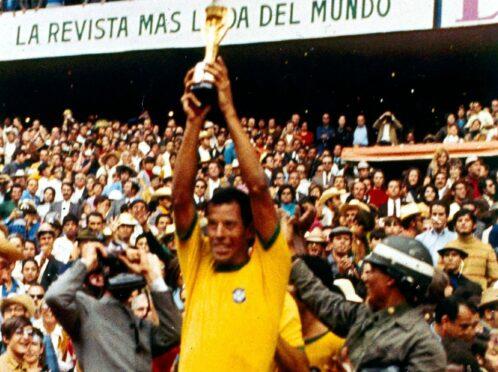 Carlos Alberto raises the World Cup aloft in Mexico back in 1970.