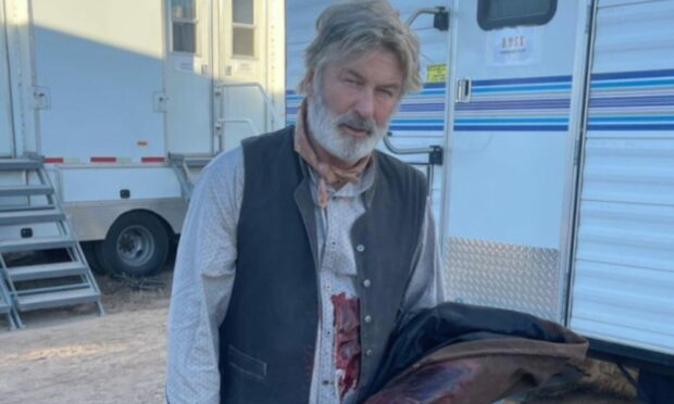 Actor Alec Baldwin on set of the film Rust hours before the fatal shooting of Halyna Hutchins