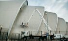 The Armadillo building at Scottish Events Campus in Glasgow is cleaned ahead of the Cop26 climate conference