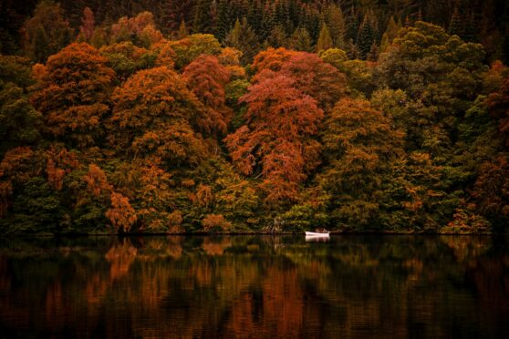 Loch Faskally with fly fishing boat and autumn trees in background making a spectacular image
