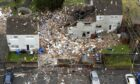 An image taken by drone of the scene in Gorse Park, Kincaidston, where two adults and two children were taken to hospital following a large explosion at a house on Monday.