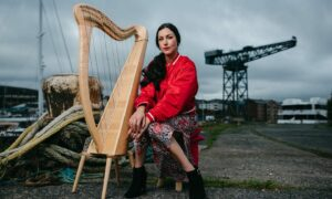 Harpist and Merchant Navy sailor Chloe Matharu at James Watt Marina in Greenock