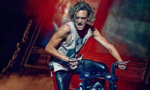 Glenn Adamson on stage as Strat in Bat Out Of Hell