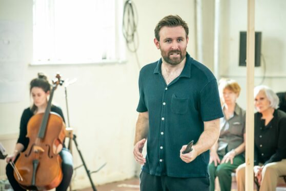 James McArdle in Macbeth rehearsals (Pic: Marc Brenner)