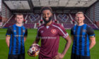 Hearts players show off the Succession sponsor