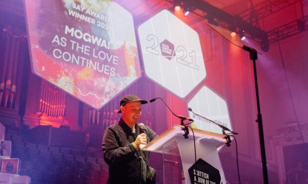 Mogwai's Stuart Braithwaite accepts the award