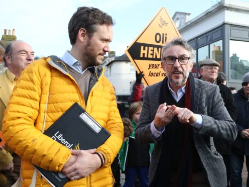 Actor Steve Coogan canvassing in Lewes (Gareth Fuller/PA)