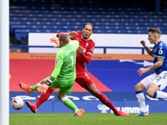 Jordan Pickford challenges Virgil Van Dijk (Laurence Griffiths/PA)