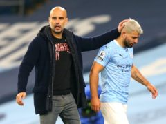 Pep Guardiola (left) will have to manage without Sergio Aguero (right) in Marseille (Alex Livesey/PA)