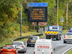 A matrix sign on the A48(M) heading towards Cardiff informs motorists of the upcoming restrictions (Ben Birchall/PA)