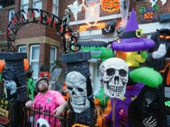 Halloween-mad Conor Pilkington, 23, from Gateshead, Tyne and Wear, has gone all out this year with his Halloween display (Owen Humphreys/PA)