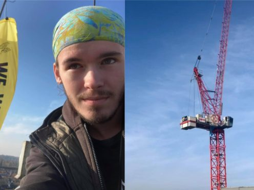 Alex Sidney, 17, says he will stay atop the crane for an indefinite amount of time, weather permitting (Alex Sidney/PA and Ames Wilson/ Extinction Rebellion Norwich/PA)