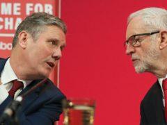 Labour leader Sir Keir Starmer and his predecessor Jeremy Corbyn (Jonathan Brady/PA)