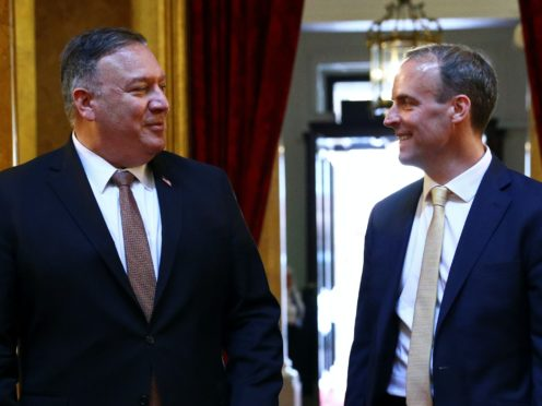Foreign Secretary Dominic Raab (right) the United States Secretary of State, Mike Pompeo, have joined Five Eyes allies in criticising China over Hong Kong (Hannah McKay/PA)