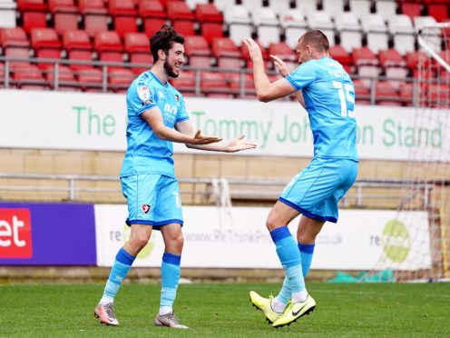 Finn Azaz, left, made a comeback appearance off the bench in Cheltenham's 1-1 draw with Cambridge (Tess Derry/PA)