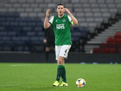 Paul Hanlon will miss out for Hibernian (Andrew Milligan/PA)