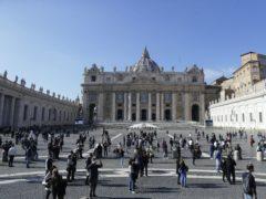 Pilgrims in St Peter's Square, Rome (Gregorio Borgia/AP)