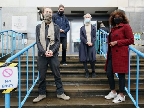 Activists Ryan Simmons, Roger Hallam, Holly Brentnall, and Valerie Brown appeared at Croydon Magistrates' Court, accused of criminal damage to buildings belonging to charities (Jonathan Brady/PA)