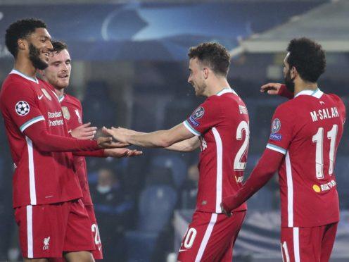 Diogo Jota (centre) caught the eye against Atalanta (Stefano Nicoli/AP)