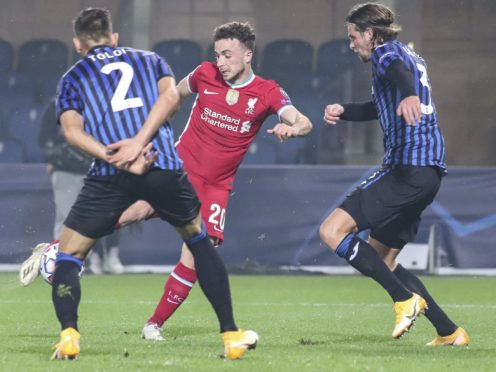 Diogo Jota scored a hat-trick in Liverpool's 5-0 Champions League victory over Atalanta (Stefano Nicoli/AP)
