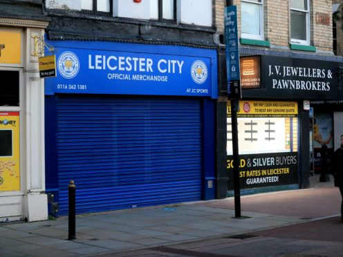 Shutters are closed outside shops in Leicester (Mike Egerton/PA)