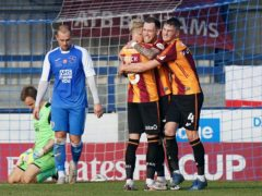 Harry Pritchard, centre, was on target for Bradford in the FA Cup (Tess Derry/PA)