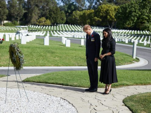 The Duke and Duchess of Sussex during a private visit to the Los Angeles National Cemetery on Remembrance Sunday (Lee Morgan/PA)