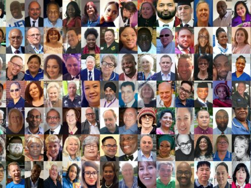 Some of the hundreds of NHS and care workers who have died with coronavirus since the pandemic began (PA)