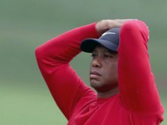 Tiger Woods ran up a 10 on the par-three 12th hole in the final round of the Masters (Curtis Compton/Atlanta Journal-Constitution via AP)