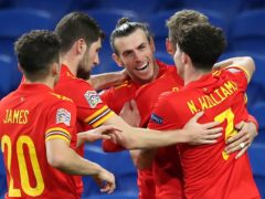 Gareth Bale (centre) and team-mates celebrate David Brooks' goal against the Republic of Ireland in Cardiff (Nick Potts/PA)
