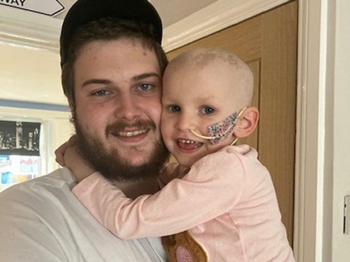 Nellie-Rose Culleton with her uncle, Sean Lynes (Family handout/PA)